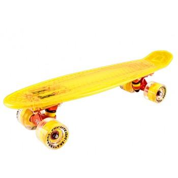 Скейтборд пластиковый Transparent 22 light yellow 1/4 TLS-403