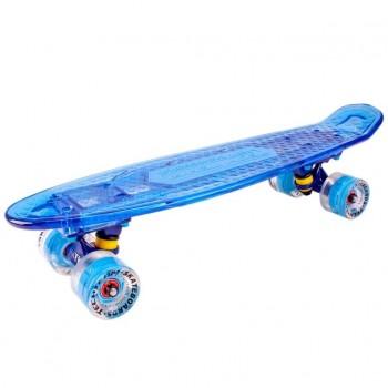Скейтборд пластиковый Transparent 22 light blue 1/4 TLS-403