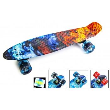 Пенни Борд с рисунком Zippy skateboards Ultra Led Ice and Fire Огонь и Лед