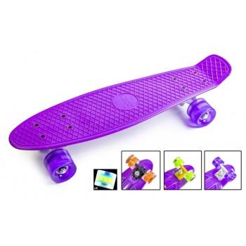 """Пенни борд Zippy Board penny 22"""" Purple - Фиолетовый cо светящимися колесами"""